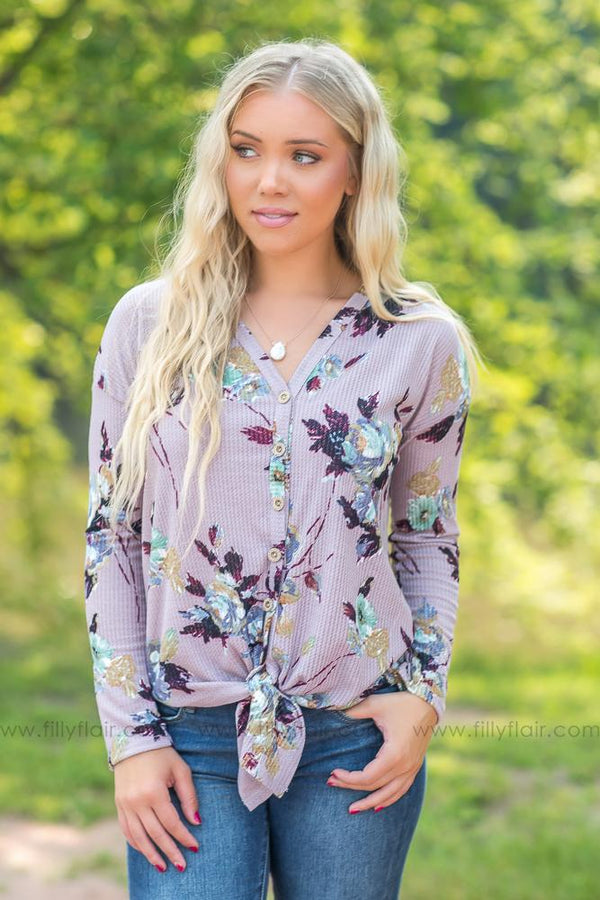 Makes You Happy Floral Thermal Long Sleeve Tie Top in Lilac