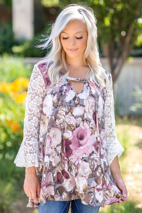 Mostly Mauve Floral Print White Lace Bell Sleeves