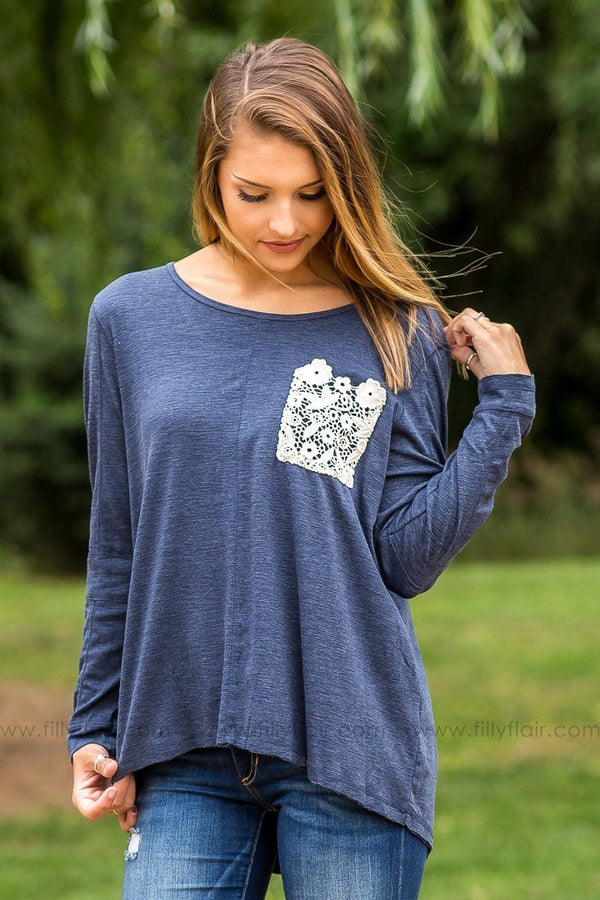 Lovely Lace Navy Long Sleeve Top