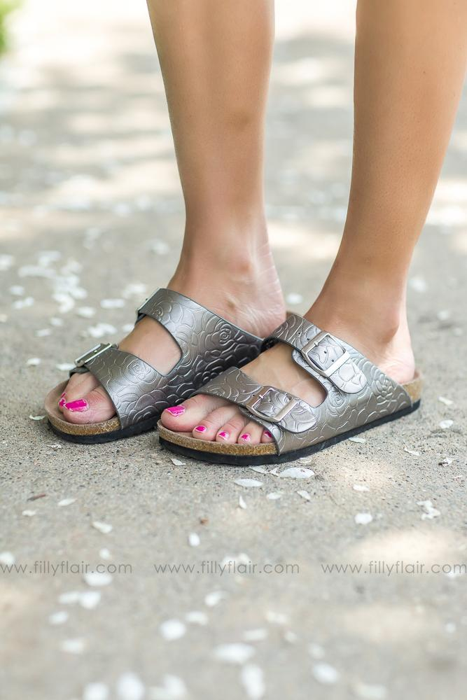 Not Rated Cherry Brock Sandals In Pewter - Filly Flair