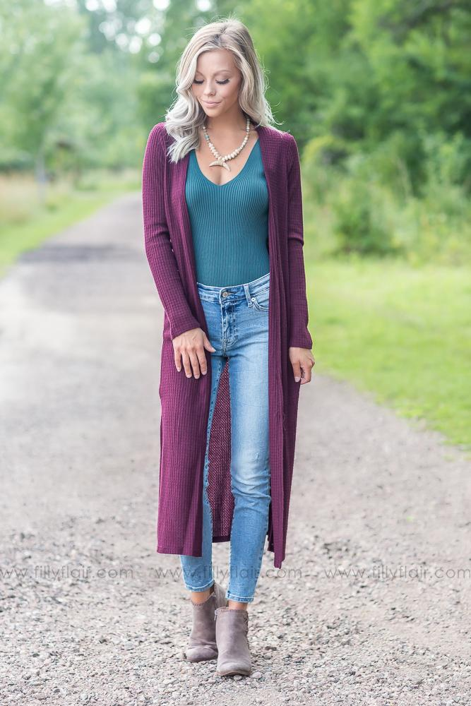 Long and Lean Burgundy Cardigan - Filly Flair