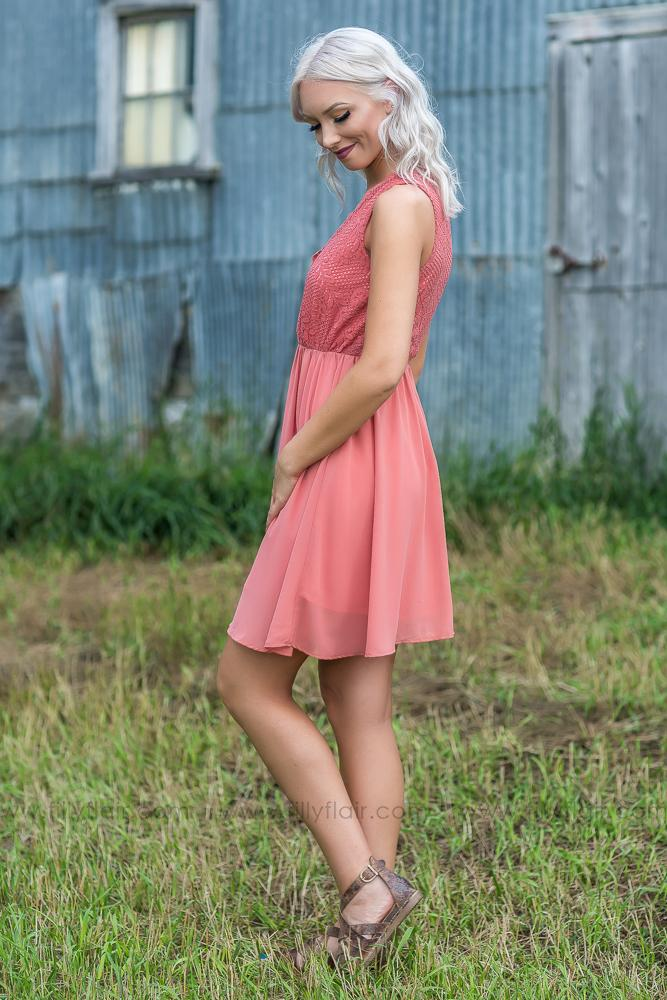 Filly Flair Exclusive: Darling Scalloped Lace Dress in Marsala - Filly Flair