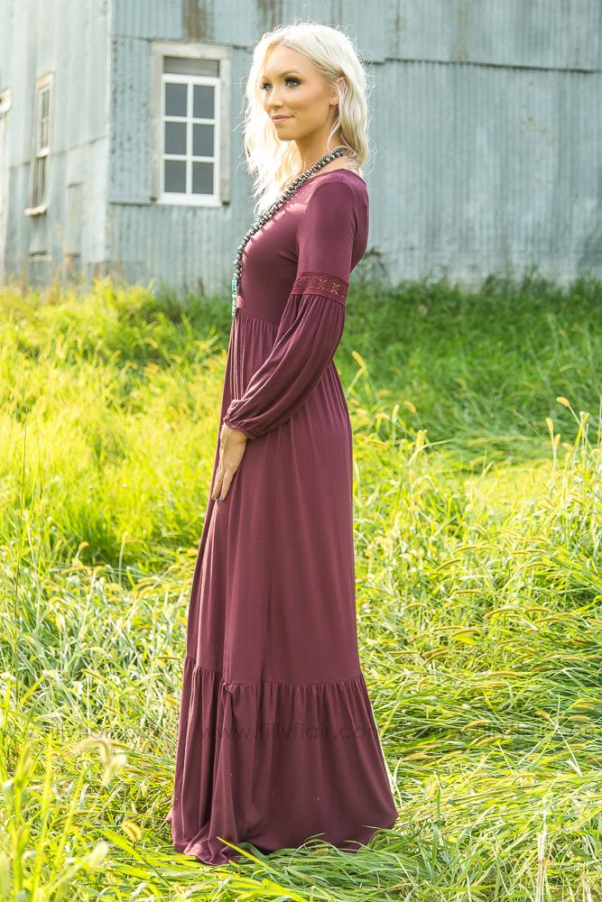 As Long As You Love Me Long Sleeve Maxi Dress in Burgundy - Filly Flair
