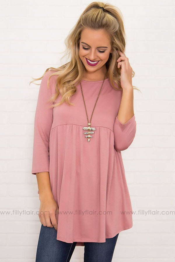 Bittersweet Baby Doll Top in Mauve