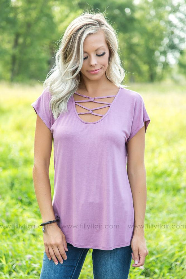 All We Ever Need Criss Cross Top in Mauve - Filly Flair