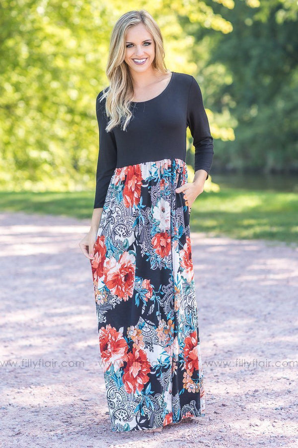 The Real Deal Black Floral Printed Bottom Maxi Dress