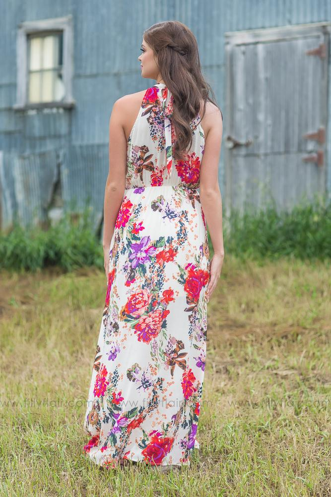 Finding a Way Ivory Floral Maxi Dress - Filly Flair