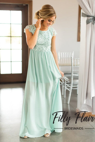 Nicole Bridesmaid Dress in Mint - Filly Flair