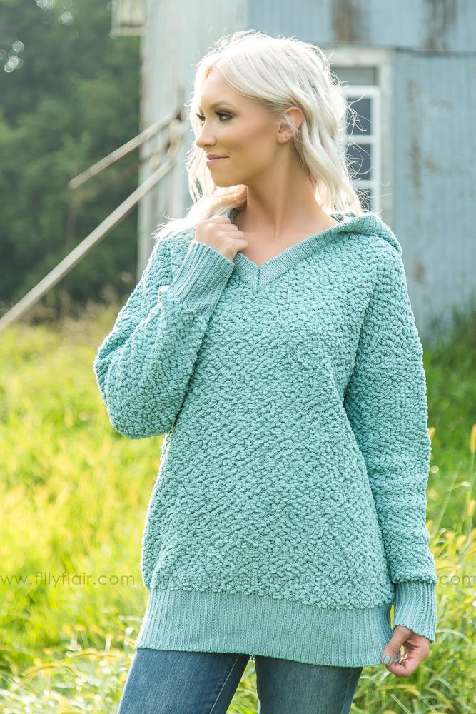 Let's Just Relax Sea Foam Fuzzy Long Sleeve Hooded Sweater - Filly Flair