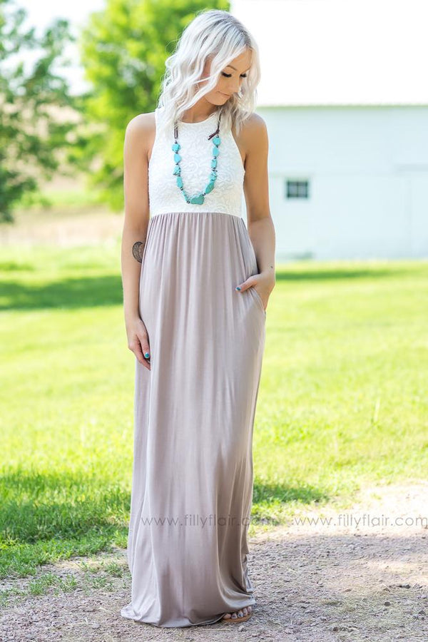 All Day And Night Sleeveless Lace Maxi Dress In Mocha - Filly Flair