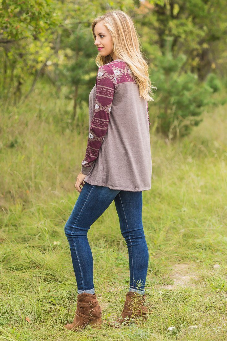 Find Me Here Taupe Burgundy Aztec Long Sleeve Top
