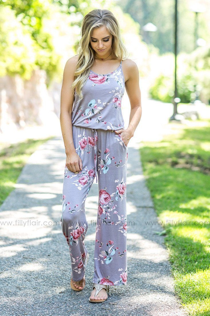 A Long Way Home Floral Jumpsuit in Taupe