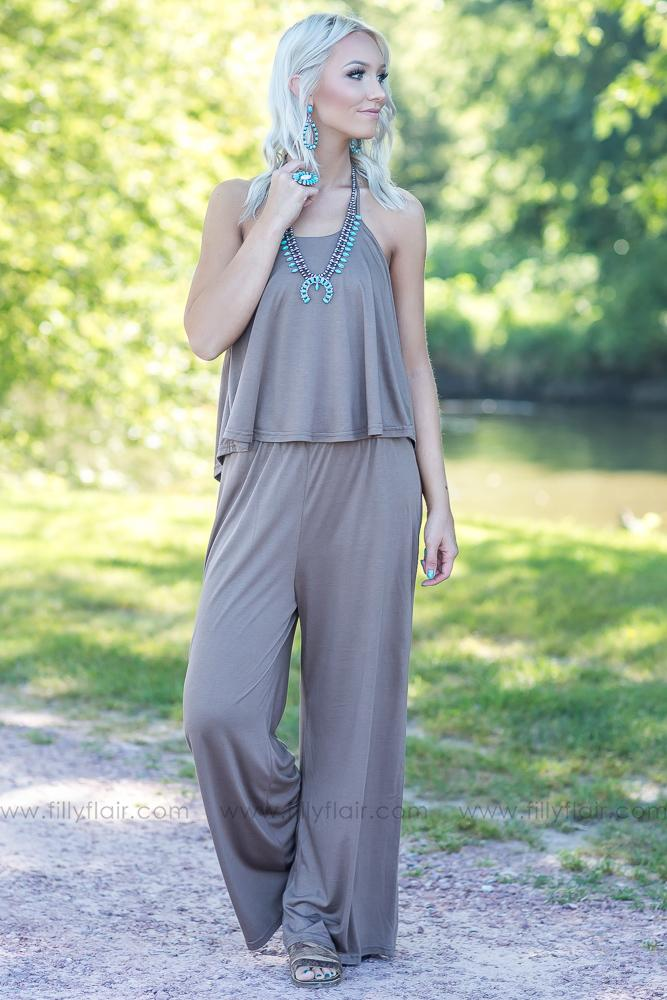 Oh Heavenly Day Halter Jumpsuit in Mocha - Filly Flair