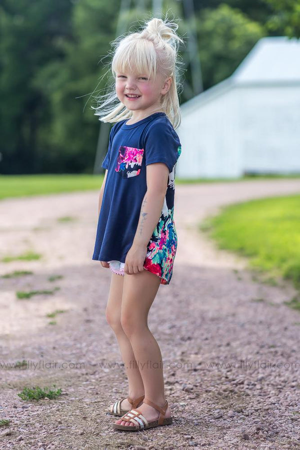 KIDS Take Me To Another Place Neon Floral Pocket Top In Navy