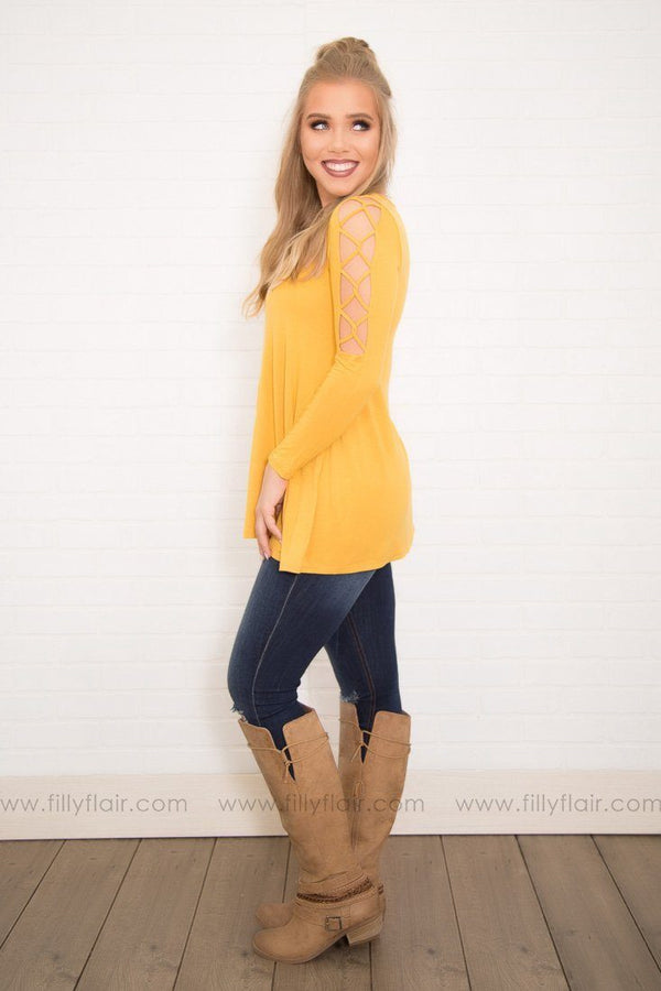 Golden Rod Basic Cut Out Long Sleeve Tunic