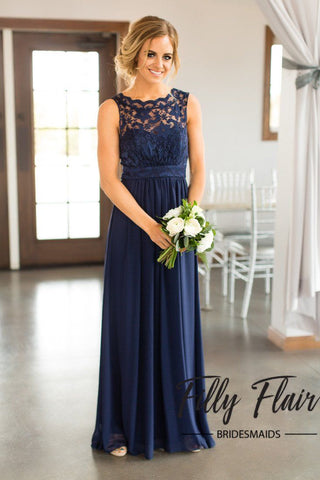 Navy Long Bridesmaid Dress