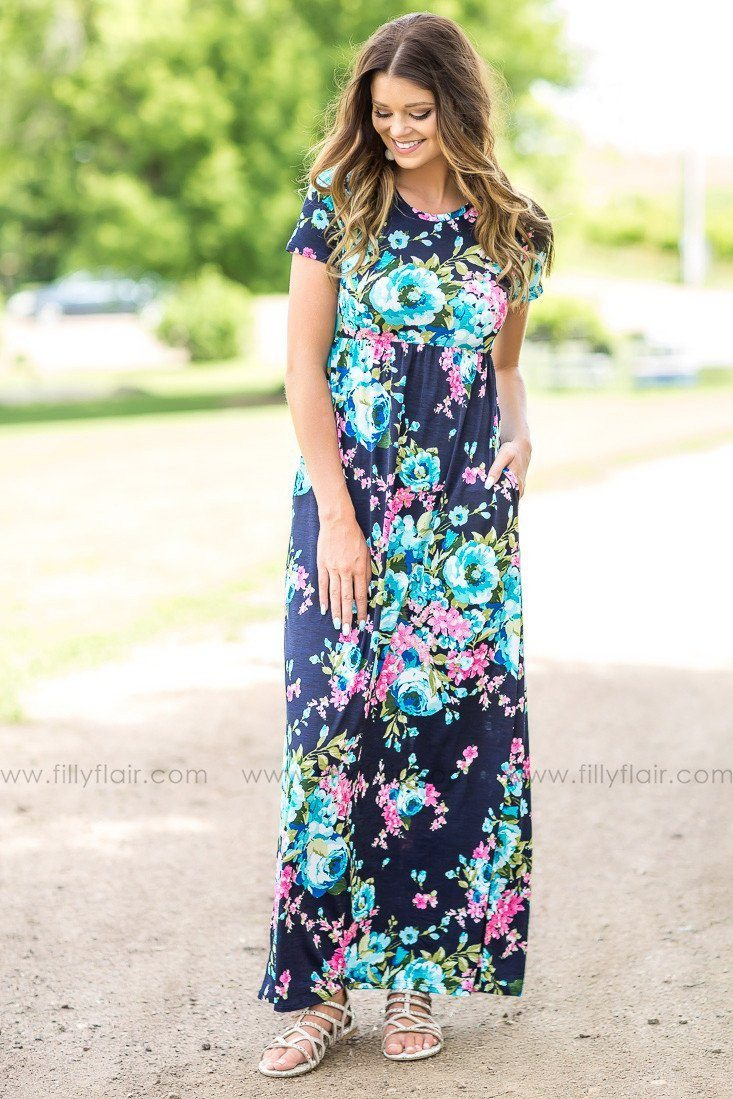Always a Favorite Floral Printed Short Sleeve Maxi Dress in Navy