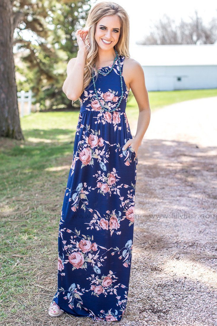 In Time Floral Tank Maxi Dress in Navy