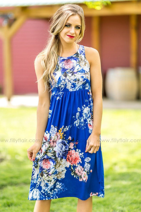 It Comes Natural Midi Dress in Royal Blue