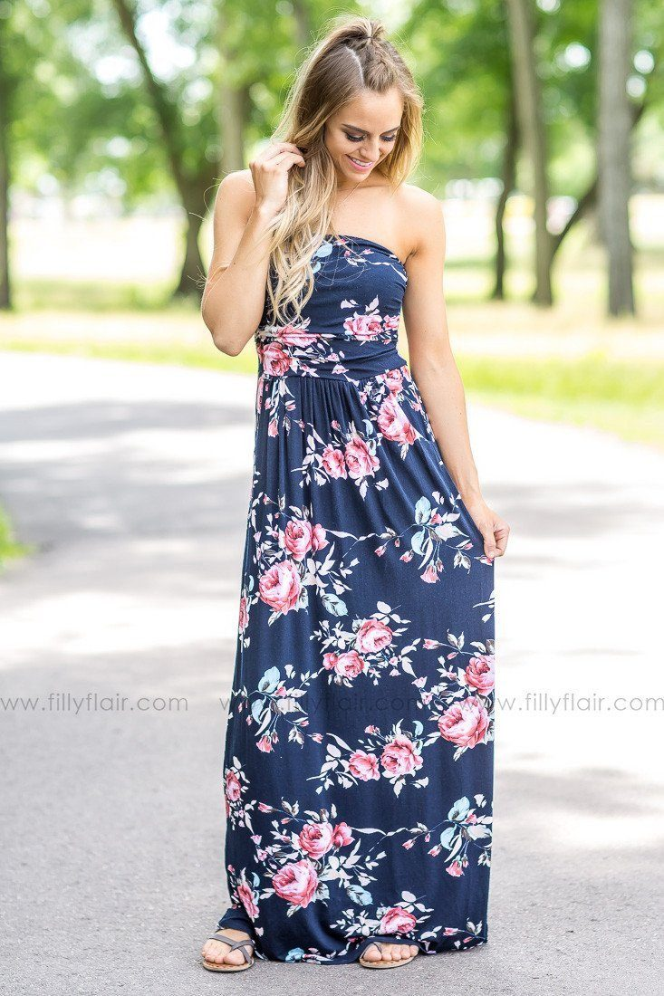 After Midnight Navy Floral Print Strapless Maxi Dress