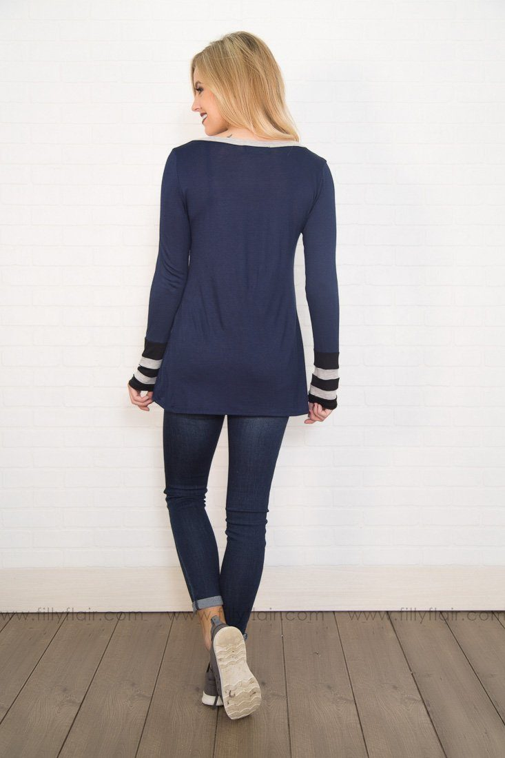 Varsity Blues Long Sleeve Grey Detail Sleeve Cuff in Navy
