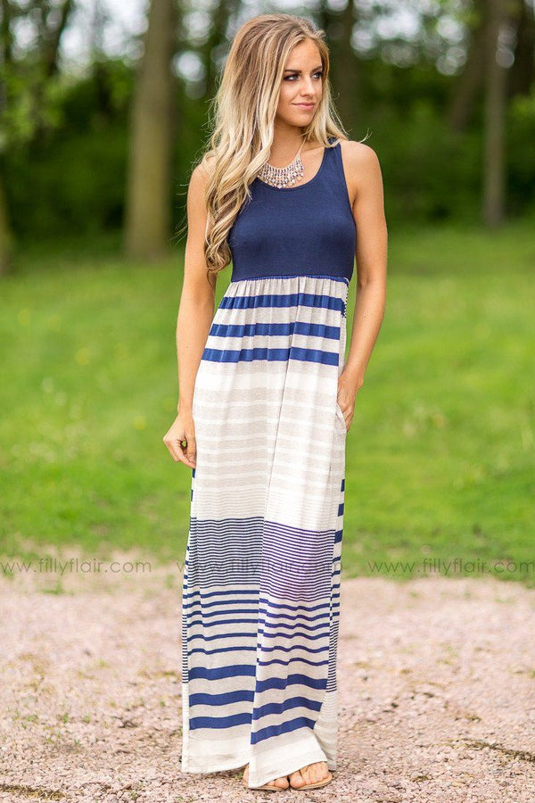 Any Day Now Striped Maxi in Navy