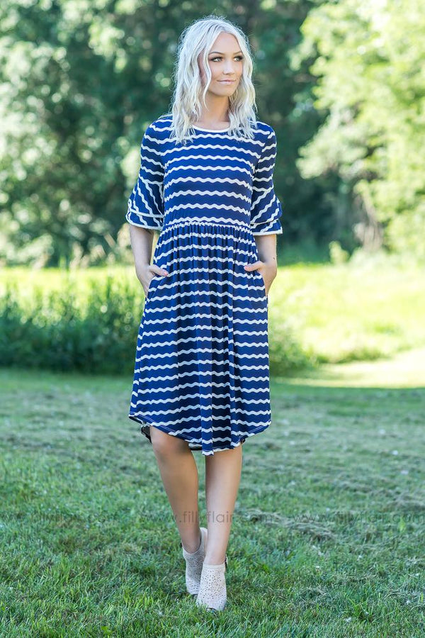 Making Waves White Stripe Dress in Navy - Filly Flair