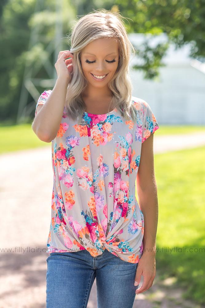 Adore You Neon Floral Knotted Top - Filly Flair