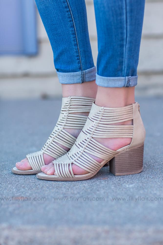 Stand For It Strappy Cage Booties In Stone - Filly Flair