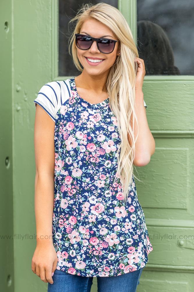 That Freeing Feeling Floral Striped Top In Navy