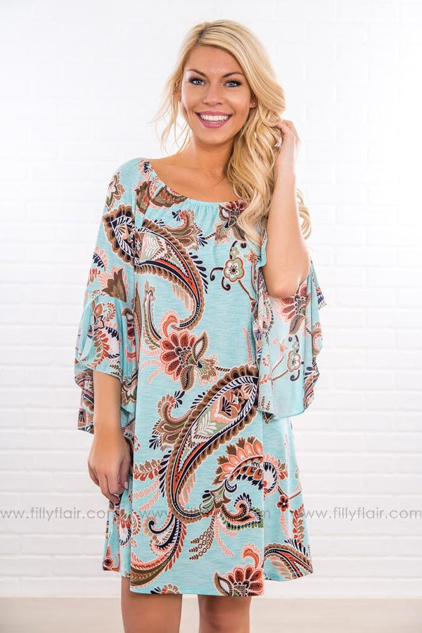 On This Lakeshore Paisley Off The Shoulder Dress In Light Blue