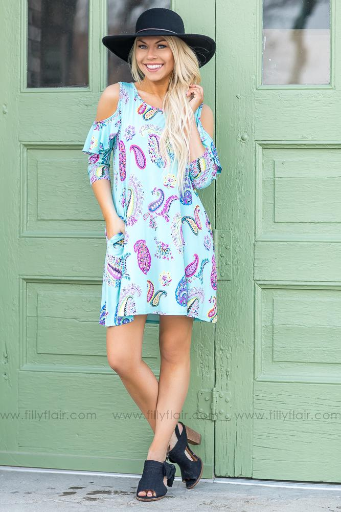 Roll With It Paisley Cold Shoulder Tunic Dress In Mint