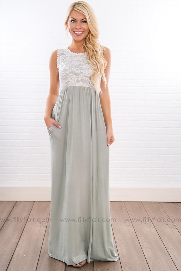 Like A Daydream Sleeveless Lace Maxi Dress In Dusty Sage