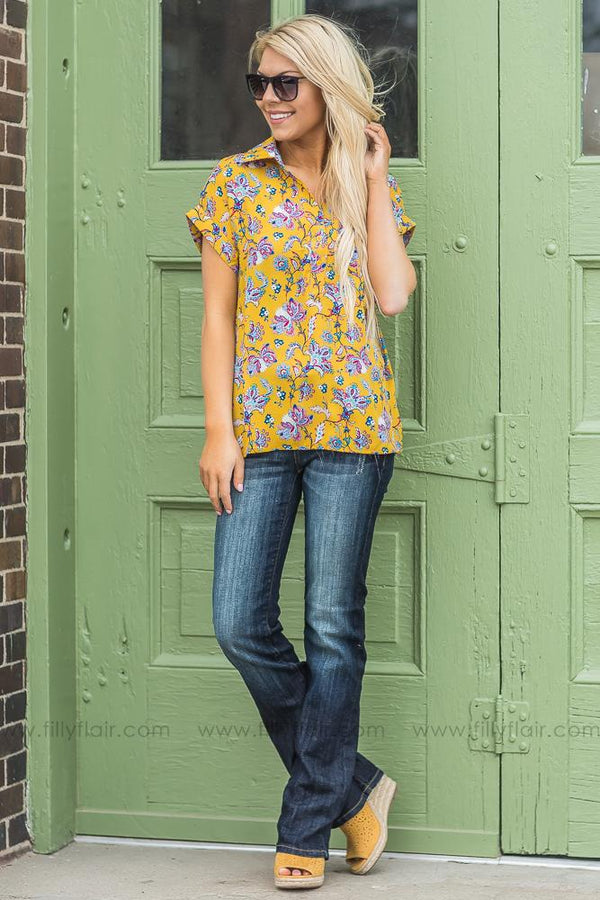 A Beautiful Thing Floral Collar Top In Mustard