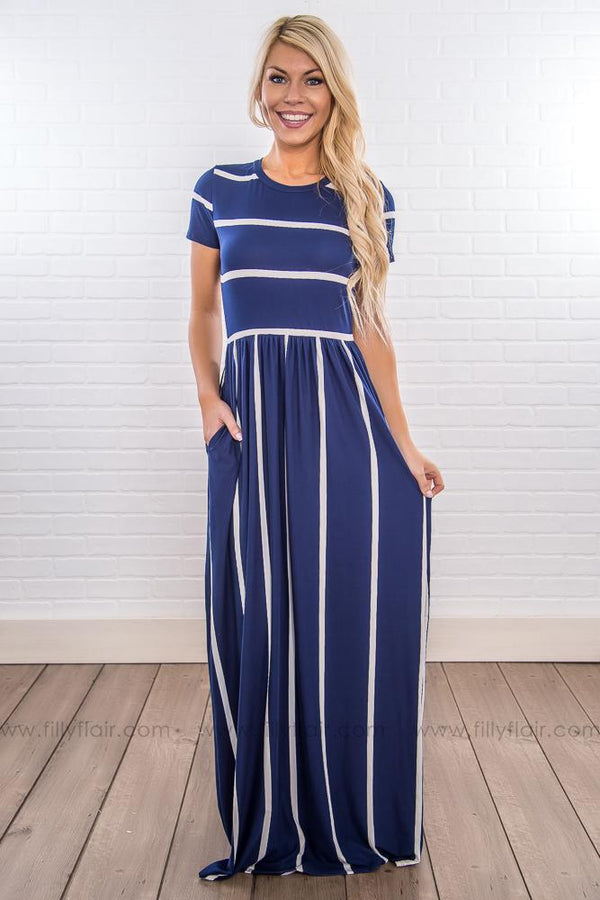 Between The Lines Striped Short Sleeve Maxi Dress In Navy