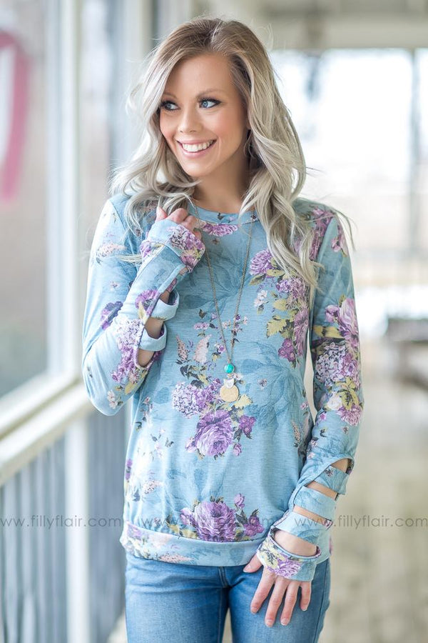 Have Faith Long Sleeve Floral Cut Out Top In Dusty Blue
