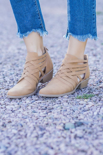 Sochi Tan Distressed Nubuck Bootie - Filly Flair