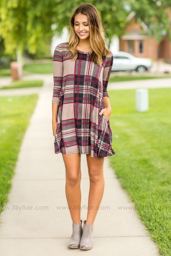 Preppy Patterns Burgundy and Taupe Plaid Dress