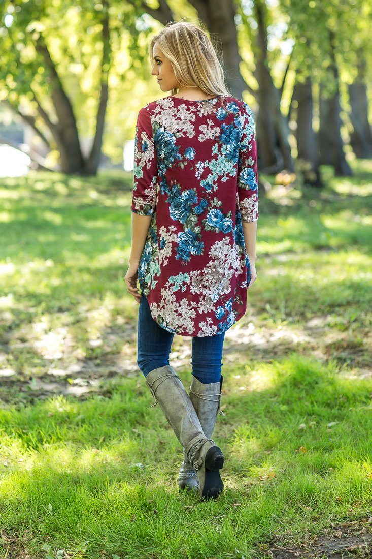 Burgundy Floral Baby Doll Long Sleeve Top