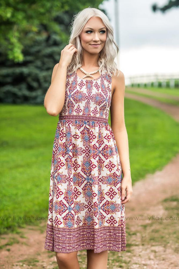 Where You Lead Printed Crochet Back Dress in Beige - Filly Flair