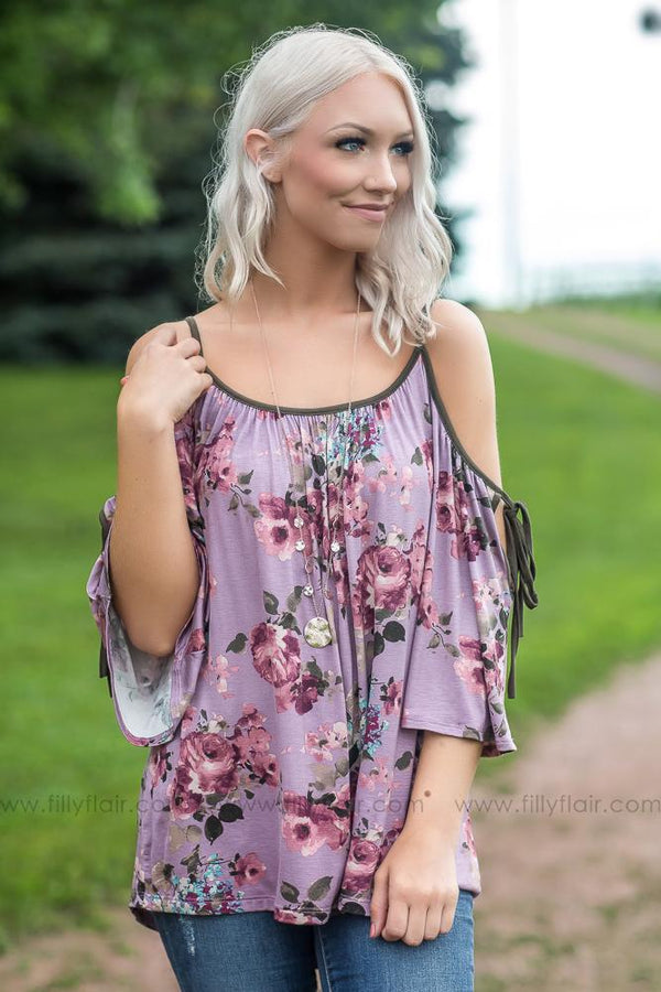 How 'Bout You Floral Cold Shoulder Top in Mauve - Filly Flair