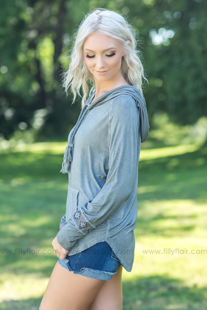 I've Got You POL Lace Embroidered Pocket Hooded Top in Charcoal - Filly Flair