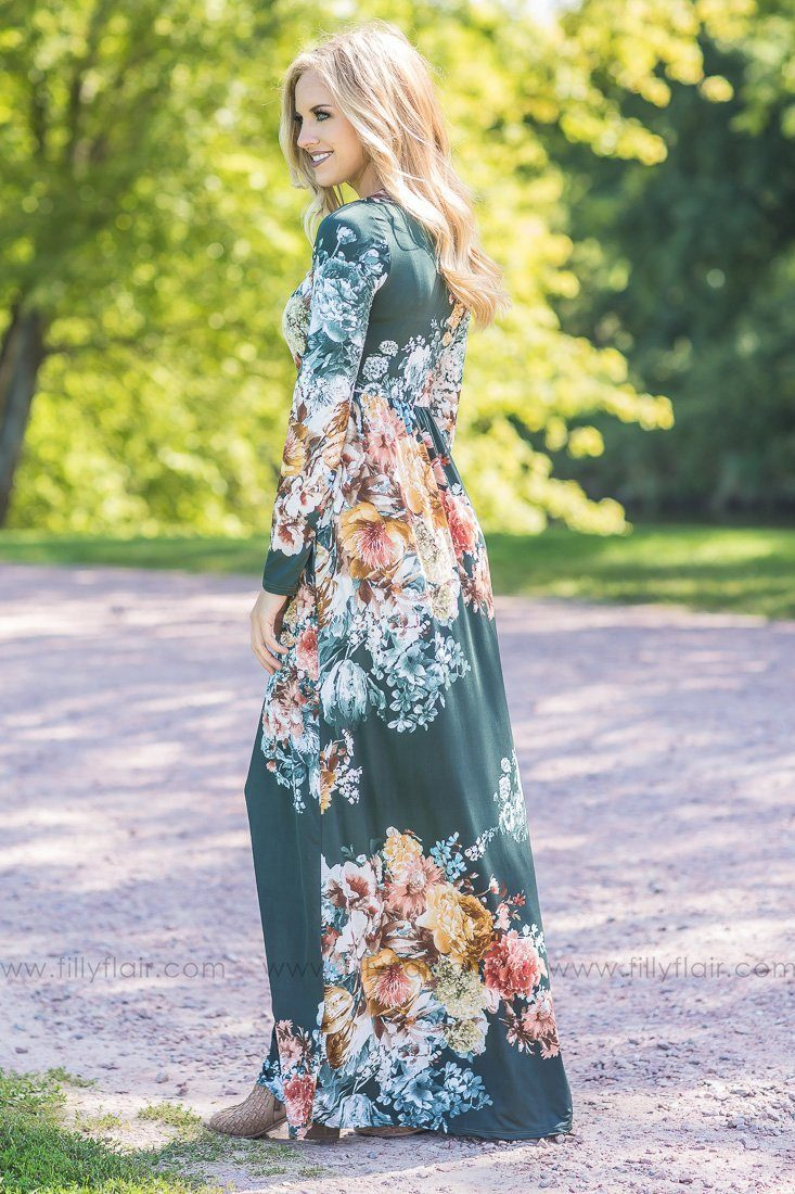 Fall in Love Floral Maxi Dress in Olive