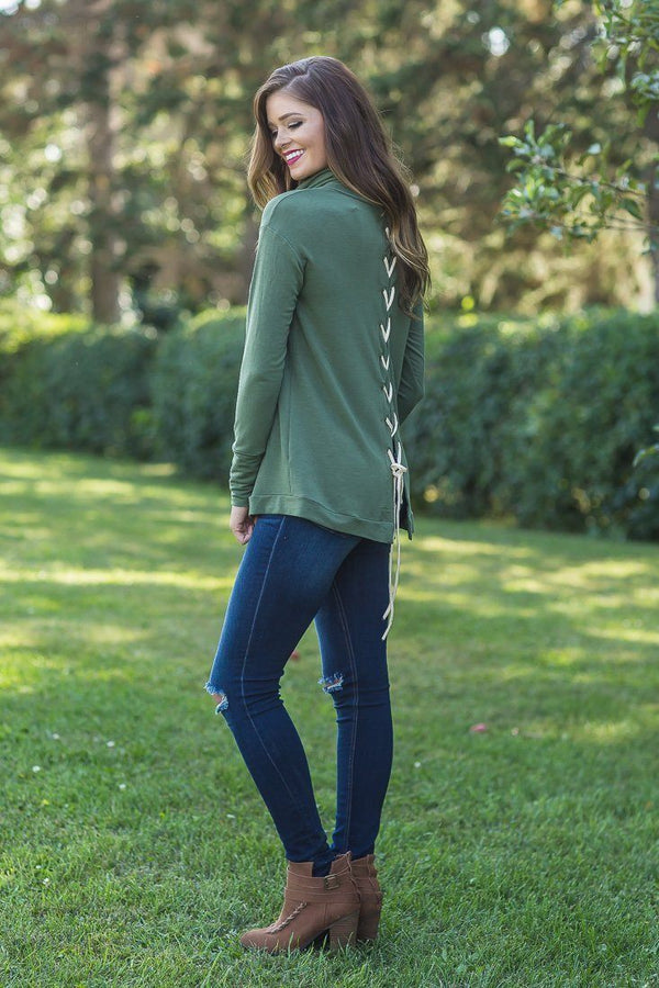 Laced Up Olive Long Sleeve Cowl Neck Lace Up Detail Back