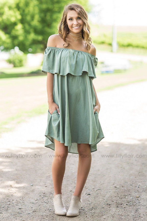 Abby Sage Ruffle Top Mini Dress