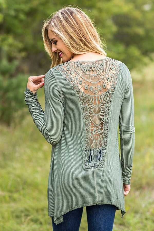 Stephanie Olive Ribbed Lace Detail Back Long Sleeve Top