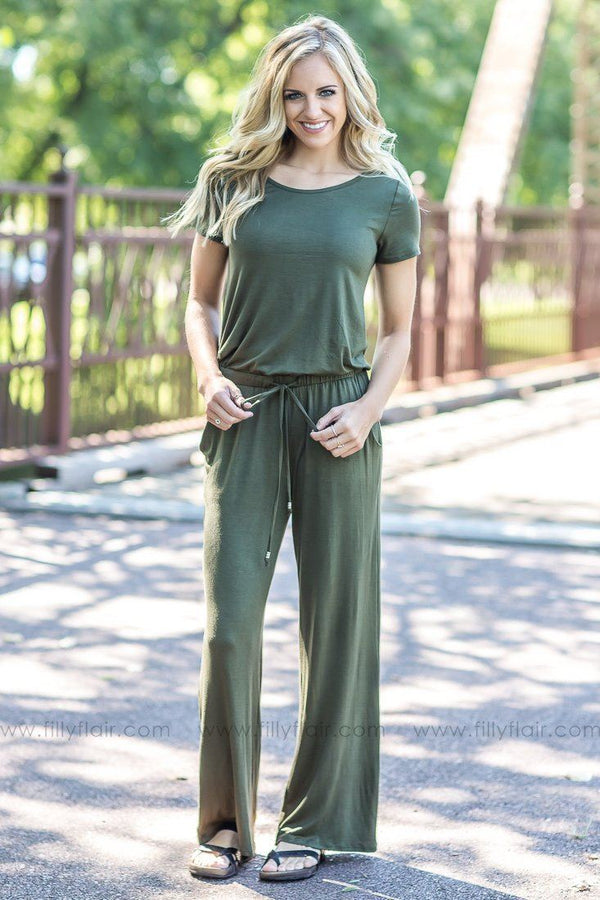 Another Day Olive short Sleeve Jumpsuit