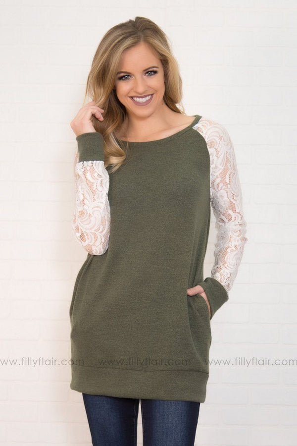 Eyes On The Lace Tunic w/Pockets in Olive
