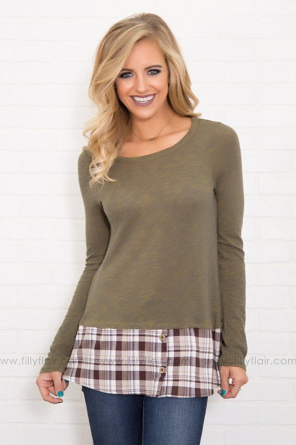 Coffee Date Long Sleeve Plaid Button Hem Top in Olive