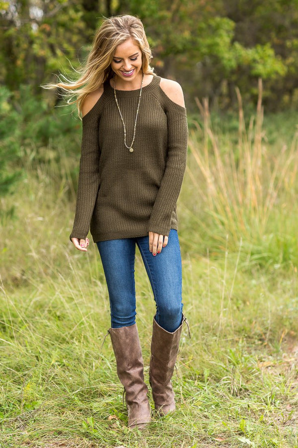 Olive Cold Shoulder Long Sleeve Sweater